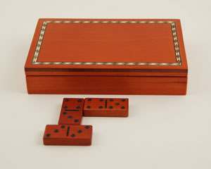 Engraved Box Domino Set; Inlaid Birch-wood