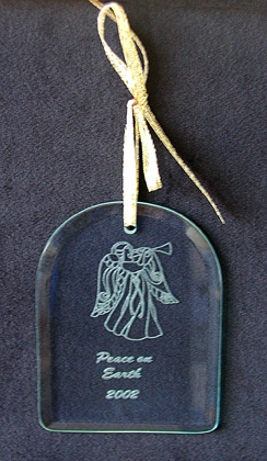 Arch Cut Glass Laser Engraved Ornament