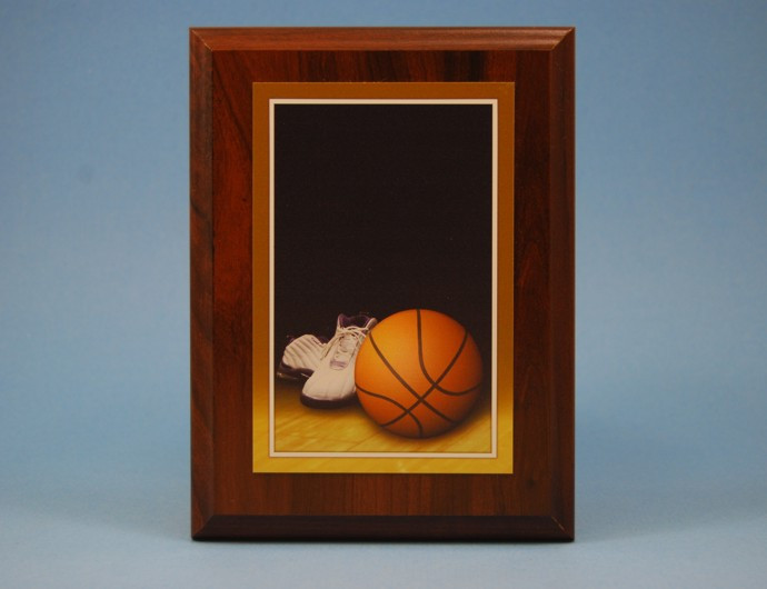 "4"" x 6"" Basketball Plate on 5"" x 7"" Plaque"