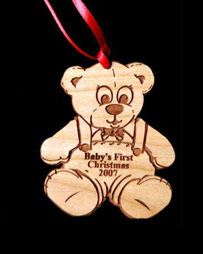 Custom Baby's First Bear Engraved Wood Ornament
