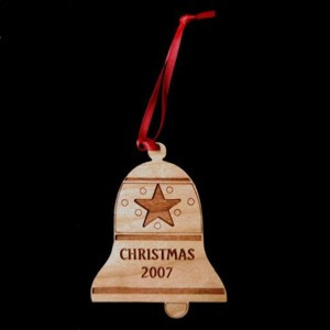 Custom Bell Cut and Engraved Cherry-Wood Ornament