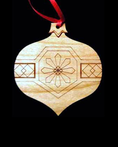 Bulb Shaped Engraved Wood Ornament