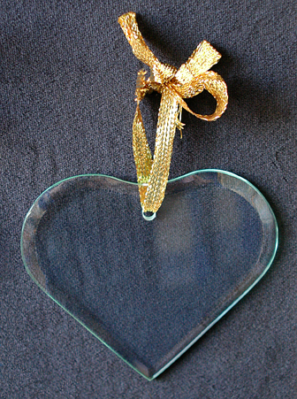 Heart Cut Glass Laser Engraved Ornament