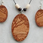Tree and Landscape Wood Beaded Necklace & Earrings