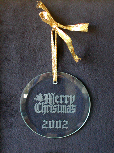 Round Cut Glass Laser Engraved Ornament