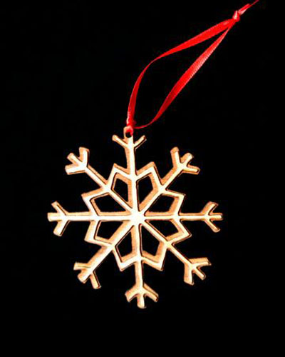 Custom Snow Flake Engraved Wood Ornament