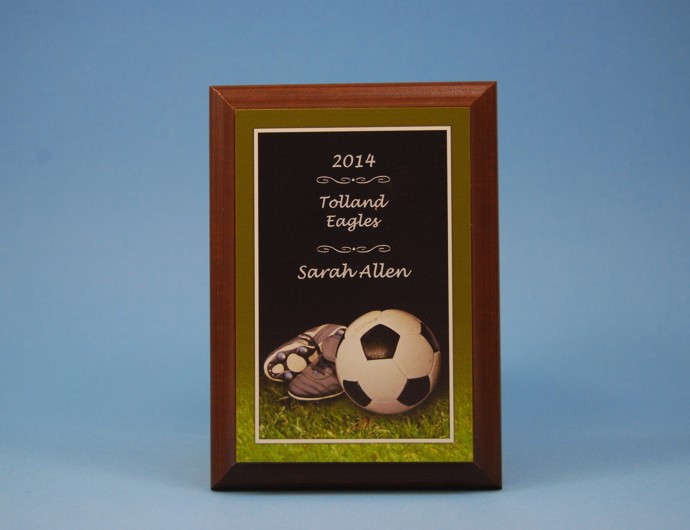 "4"" x 6"" Soccer Plate on 5"" x 7"" Plaque"