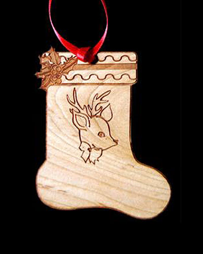Custom Stocking Engraved Wood Ornament