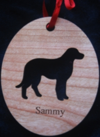 Dog Silhouette Engraved Wood Ornament