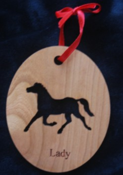 Custom Horse Silhouette Engraved Wood Ornament