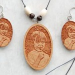 Wood Pendant with a laser engraved photograph.
