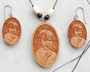 Examples of laser cut jewelry elite engraving and awards and touch photos engraved earrings and beaded pendant aloadofball Gallery