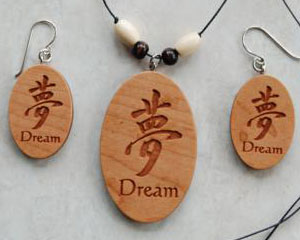 Custom engraved Cherry-wood Earrings