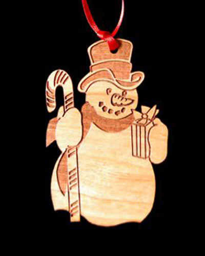 Custom Snowman Laser Engraved and Cut Wood Ornament