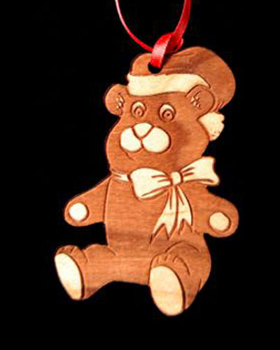 Custom Teddy Bear Engraved Wood Ornament