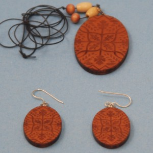 Engraved Antique Geometric Design Necklace & Earrings