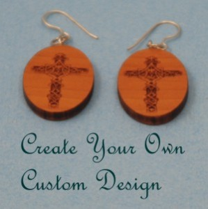 engraved wood cross earrings with SS findings
