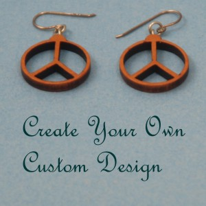 Cut Wooden Peace Symbol Earrings