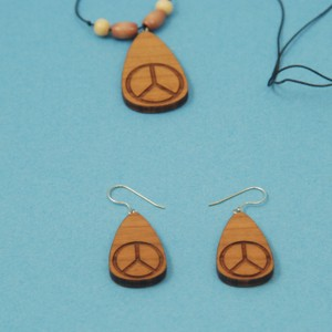 Engraved Peace Symbol Necklace and Earrings