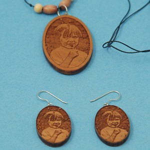 Engraved Photo Necklace / Earrings Set