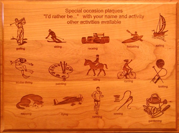 Custom Laser Engraved Wood Special Activity Plaques