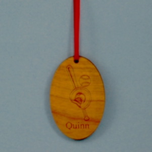 Custom Oval Laser Engraved and Cut Baseball Wood Ornament