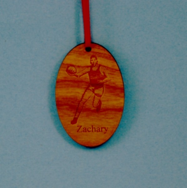 Oval Laser Engraved and Cut Basketball Cherry-Wood Ornament