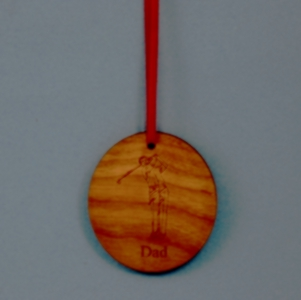 Oval Laser Engraved and Cut Golf Cherry-Wood Ornament