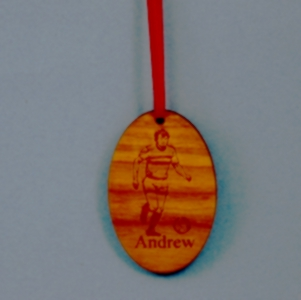 Oval Laser Engraved and Cut Soccer Cherry-Wood Ornament