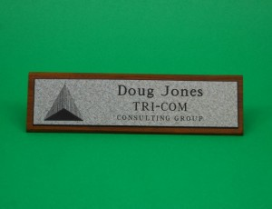 Nameplate, Walnut, 2'x 2.5'x 8.5', Choice of engravers plastic, engraving included