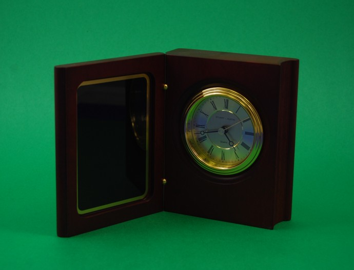 Book Clock, Mahogany Finish