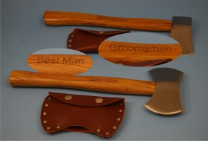 Groomsmen Gifts, Laser Engraved Axes, recipient's name engraved on the other side.