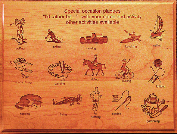 Custom Engraved Special Activity Cherry-wood Plaque Examples of artwork