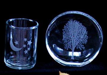 Custom Engraved Glass Disk and Votive Candle Holder
