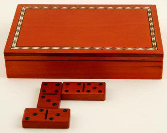 Custom Engraved Box Domino Set; Inlay-ed Birch-wood