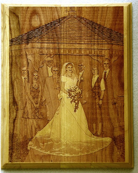 "Laser Engraved Wedding Photo from a scanned photograph on a 12"" x 15"" Plaque"