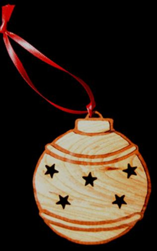 Custom Engraved & Cut Cherry-Wood Ornaments