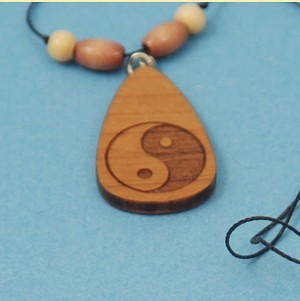 Laser Engraved and cut Yin-Yang Beaded Necklace in Cherry-Wood, S.S. findings