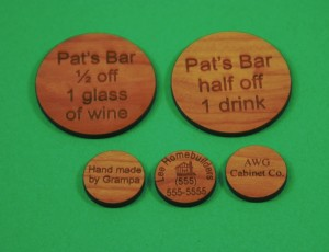 Custom Engraved & Cut Cherry-Wood Tokens and Shapes